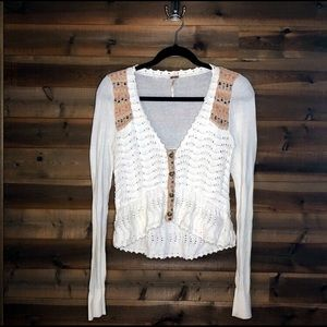 Free People Cotton Knit Boho Cardigan Off-White